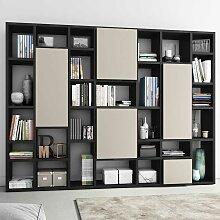 Design Bücherwand mit Türen Eiche Schwarz Braun