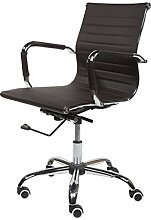 Design Bürostuhl Chrom Rahmen Elegance Chefsessel Drehstuhl Konferenz-Stuhl (Braun, Niedrige Lehne)