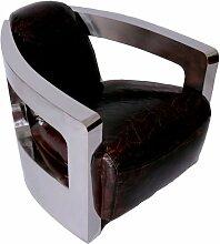 Design-Clubsessel Mars Chrom und Vintage-Leder Echtleder Sessel Vintage Cigar dunkelbraun