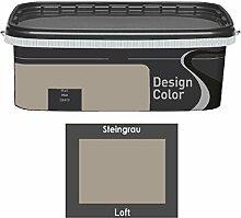 Design Color 2,5 L. farbige Innenfarbe, Wandfarbe Steingrau, Loft, Grau, Ma