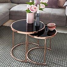 Design Couchtisch DECO Glas Kupfer Tisch 2er Set