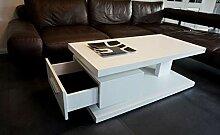 Design Couchtisch G-18 Weiß Schublade Stauraum