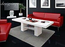 Design Couchtisch HN-777 Weiß - Grau Hochglanz