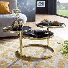 Design Couchtisch im drei runden Glasplatten