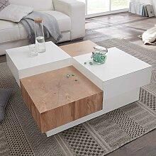 Design Couchtisch in Weiß Hochglanz und Eiche