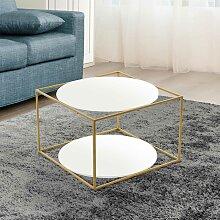 Design Couchtisch in Weiß und Goldfarben rund