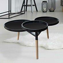 Design Couchtisch mit drei runden Platten Schwarz