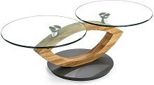 Design Couchtisch mit zwei runden Glasplatten