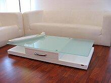 Design Couchtisch Tisch V-470 Weiß Milchglas Glas