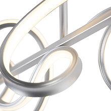 Design Deckenlampe silber inkl. LED und Dimmer -
