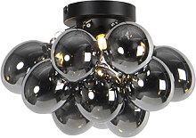 Design Deckenleuchte schwarz mit Rauchglas 3-Licht