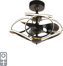 Design Deckenventilator schwarz mit Fernbedienung