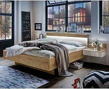 Design Doppelbett in Weiß und Eiche Furnier
