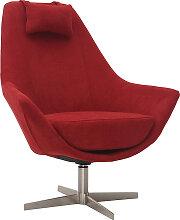 Design-Drehsessel aus Stoff Rot und Metallgestell