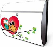 Design Edelstahl Briefkasten, Designer Wandbriefkasten halbrund kaufen, für A4 Post, rostfrei, 2 Schlüssel Briefkastenschloss, von Banjado Motiv Big Love