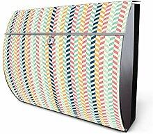 Design Edelstahl Briefkasten, Designer Wandbriefkasten halbrund kaufen, für A4 Post, rostfrei, 2 Schlüssel Briefkastenschloss, von Banjado Motiv Reißverschluss