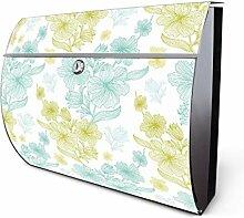 Design Edelstahl Briefkasten, Designer Wandbriefkasten halbrund kaufen, für A4 Post, rostfrei, 2 Schlüssel Briefkastenschloss, von Banjado Motiv Hibiscus Farbklang
