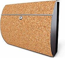 Design Edelstahl Briefkasten, Designer Wandbriefkasten halbrund kaufen, für A4 Post, rostfrei, 2 Schlüssel Briefkastenschloss, von Banjado Motiv Kork