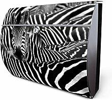 Design Edelstahl Briefkasten, Designer Wandbriefkasten halbrund kaufen, für A4 Post, rostfrei, 2 Schlüssel Briefkastenschloss, von Banjado Motiv Zebras