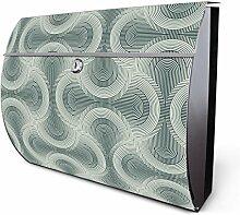 Design Edelstahl Briefkasten, Designer Wandbriefkasten halbrund kaufen, für A4 Post, rostfrei, 2 Schlüssel Briefkastenschloss, von Banjado Motiv Bögen Dynamisch