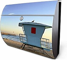 Design Edelstahl Briefkasten, Designer Wandbriefkasten halbrund kaufen, für A4 Post, rostfrei, 2 Schlüssel Briefkastenschloss, von Banjado Motiv Rettungsturm