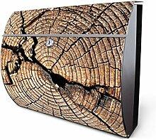 Design Edelstahl Briefkasten, Designer Wandbriefkasten halbrund kaufen, für A4 Post, rostfrei, 2 Schlüssel Briefkastenschloss, von Banjado Motiv Zeichen Der Zei