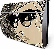 Design Edelstahl Briefkasten, Designer Wandbriefkasten halbrund kaufen, für A4 Post, rostfrei, 2 Schlüssel Briefkastenschloss, von Banjado Motiv Lady Collage