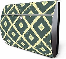 Design Edelstahl Briefkasten, Designer Wandbriefkasten halbrund kaufen, für A4 Post, rostfrei, 2 Schlüssel Briefkastenschloss, von Banjado Motiv Patchwork Blaugrau