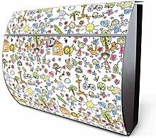 Design Edelstahl Briefkasten, Designer Wandbriefkasten halbrund kaufen, für A4 Post, rostfrei, 2 Schlüssel Briefkastenschloss, von Banjado Motiv Herrliche Wel