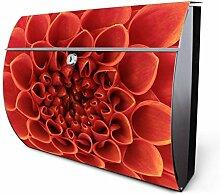 Design Edelstahl Briefkasten, Designer Wandbriefkasten halbrund kaufen, für A4 Post, rostfrei, 2 Schlüssel Briefkastenschloss, von Banjado Motiv Orange Chrysantheme