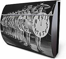Design Edelstahl Briefkasten, Designer Wandbriefkasten halbrund kaufen, für A4 Post, rostfrei, 2 Schlüssel Briefkastenschloss, von Banjado Motiv Zeitansage
