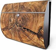 Design Edelstahl Briefkasten, Designer Wandbriefkasten halbrund kaufen, für A4 Post, rostfrei, 2 Schlüssel Briefkastenschloss, von Banjado Motiv Jahresringe
