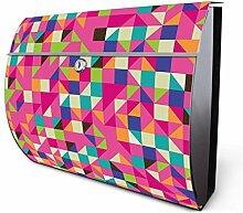 Design Edelstahl Briefkasten, Designer Wandbriefkasten halbrund kaufen, für A4 Post, rostfrei, 2 Schlüssel Briefkastenschloss, von Banjado Motiv Beyond Pink