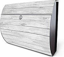 Design Edelstahl Briefkasten, Designer Wandbriefkasten halbrund kaufen, für A4 Post, rostfrei, 2 Schlüssel Briefkastenschloss, von Banjado Motiv Weiß Gebeiz