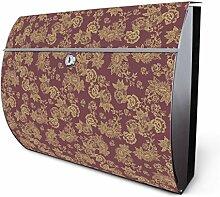 Design Edelstahl Briefkasten, Designer Wandbriefkasten halbrund kaufen, für A4 Post, rostfrei, 2 Schlüssel Briefkastenschloss, von Banjado Motiv Alt Romantisch