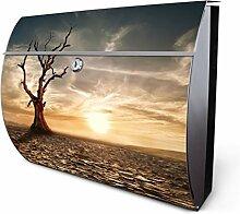 Design Edelstahl Briefkasten, Designer Wandbriefkasten halbrund kaufen, für A4 Post, rostfrei, 2 Schlüssel Briefkastenschloss, von Banjado Motiv Dürre