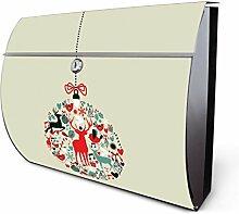 Design Edelstahl Briefkasten, Designer Wandbriefkasten halbrund kaufen, für A4 Post, rostfrei, 2 Schlüssel Briefkastenschloss, von Banjado Motiv Christbaumkugel