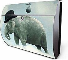 Design Edelstahl Briefkasten, Designer Wandbriefkasten halbrund kaufen, für A4 Post, rostfrei, 2 Schlüssel Briefkastenschloss, von Banjado Motiv Elefant und Möwe