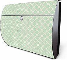 Design Edelstahl Briefkasten, Designer Wandbriefkasten halbrund kaufen, für A4 Post, rostfrei, 2 Schlüssel Briefkastenschloss, von Banjado Motiv Kordel Grün