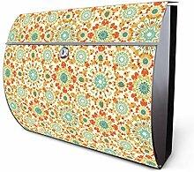 Design Edelstahl Briefkasten, Designer Wandbriefkasten halbrund kaufen, für A4 Post, rostfrei, 2 Schlüssel Briefkastenschloss, von Banjado Motiv Arabisches Muster