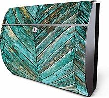 Design Edelstahl Briefkasten, Designer Wandbriefkasten halbrund kaufen, für A4 Post, rostfrei, 2 Schlüssel Briefkastenschloss, von Banjado Motiv Altes Holz Blau