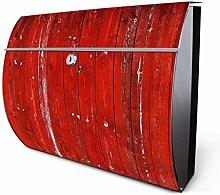 Design Edelstahl Briefkasten, Designer Wandbriefkasten halbrund kaufen, für A4 Post, rostfrei, 2 Schlüssel Briefkastenschloss, von Banjado Motiv Rote Holzlatten