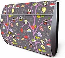 Design Edelstahl Briefkasten, Designer Wandbriefkasten halbrund kaufen, für A4 Post, rostfrei, 2 Schlüssel Briefkastenschloss, von Banjado Motiv In Herbstnächten
