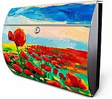 Design Edelstahl Briefkasten, Designer Wandbriefkasten halbrund kaufen, für A4 Post, rostfrei, 2 Schlüssel Briefkastenschloss, von Banjado Motiv Tulpenfeld
