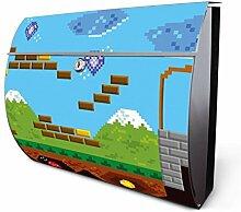 Design Edelstahl Briefkasten, Designer Wandbriefkasten halbrund kaufen, für A4 Post, rostfrei, 2 Schlüssel Briefkastenschloss, von Banjado Motiv Jump and Run