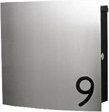 Design Edelstahl Briefkasten mit Hausnummer