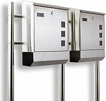 Design Edelstahl hochwertiger Doppelbriefkasten