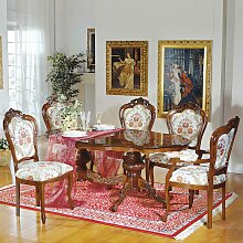 Design Essgruppe im Barock Look ovalem Tisch (6-teilig)
