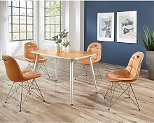 Design Essgruppe in Orange Weiß (5-teilig)
