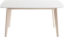 Design-Esstisch 150 cm Weiß und helles Holz LEENA